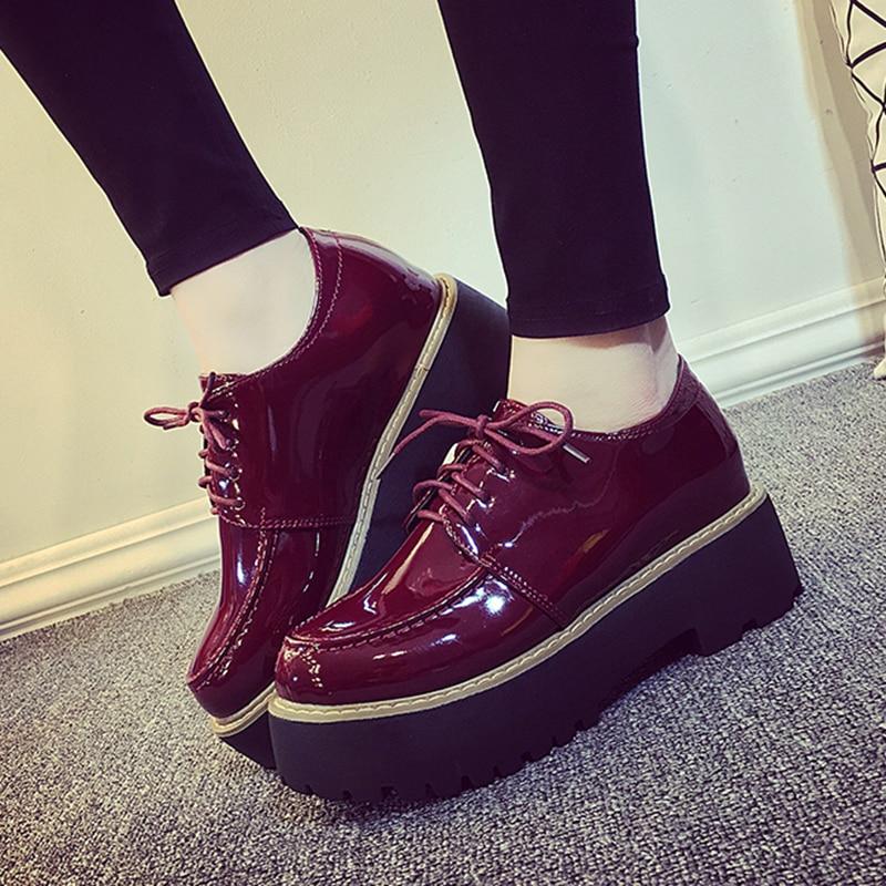 c0f8c04152ef € 19.75 15% de DESCUENTO Zapatos Oxford para mujer 2018 Casual Sapato  Feminino charol Platform Flats punta redonda zapatos planos mujer cómodos  ...
