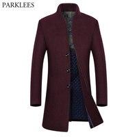 Brand Wine Red Long Trench Coat Men 2018 Winter New Men's Cashmere Pea Coat Slim Fit Wool &Blends Coat Overcoat Manteau Homme