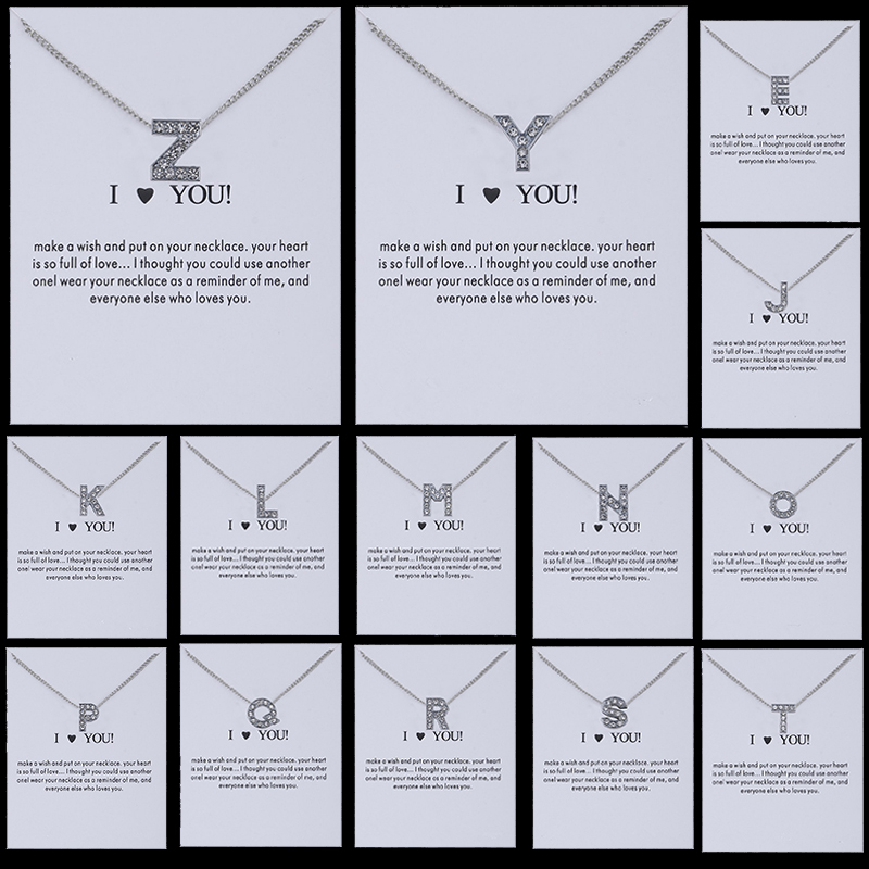 Hot 26 Letters Rhinestones Jam Love Charm Necklace Pendant For Women Chain Silver Aolly Simple Crystal Jwelry Gift