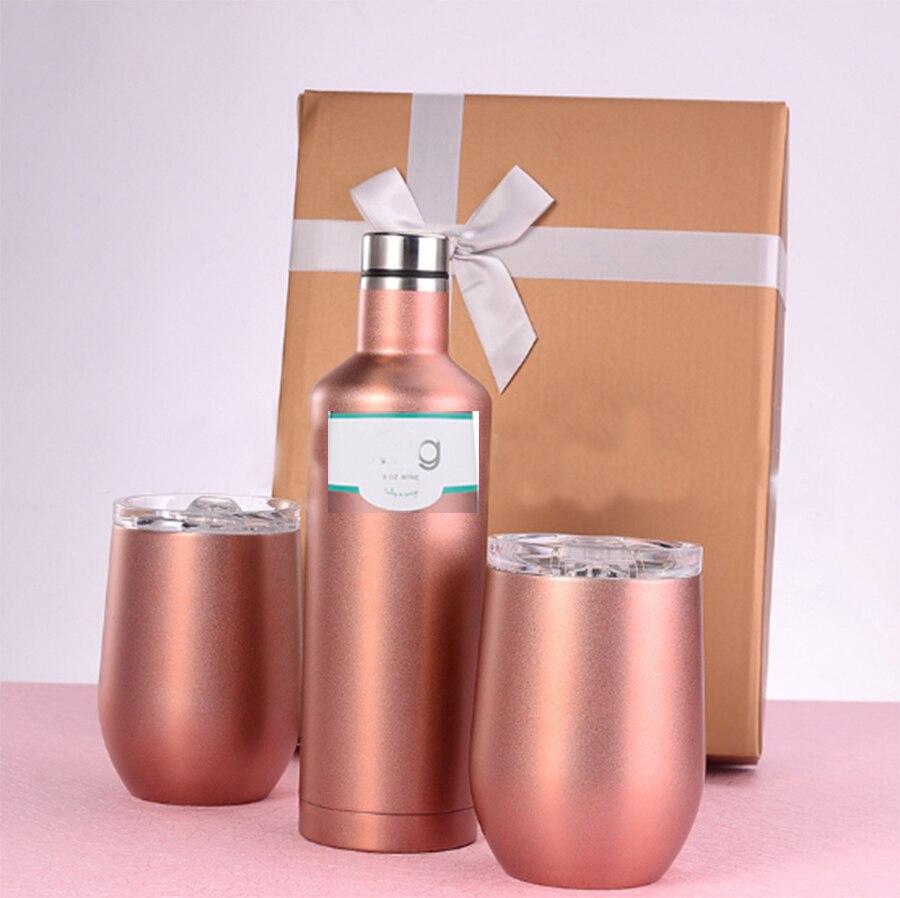 Nouveau 500 ml vin tasse + 2 pièces 12 oz oeuf vin bouteille pour marier cadeau ensemble de mode bouteille d'eau sous vide en acier inoxydable pour l'alcool