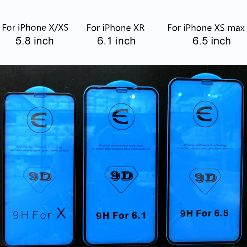 Image 3 - 9D Full coverage protective glass for iPhone X XR XS max glass iphone XS max X XR screen protector iPhone XS max XR X glass flim-in Phone Screen Protectors from Cellphones & Telecommunications on