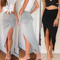 Skirts 2016 New Fashion Womens Ladies Ruched Side Split Slim Skinny Slit Maxi Long Pencil Skirt New Arriving Wholesale Size 6-16