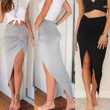 hirigin Skirts New Fashion Womens Ladies Ruched Side Split Slim Skinny Slit Maxi