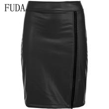 FUDA Elegant Autumn Black Sexy PU Leather Zipper High Waist Pencil Skirt Woman Casual Party Night Club Wear Slim Skirts