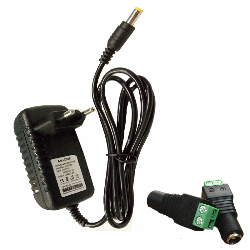 EU US Plug Driver Adapter AC100-240V To DC 12V 2A 5.5*2.1mm LED Power Supply +1pcs Female Connector For LED Strip