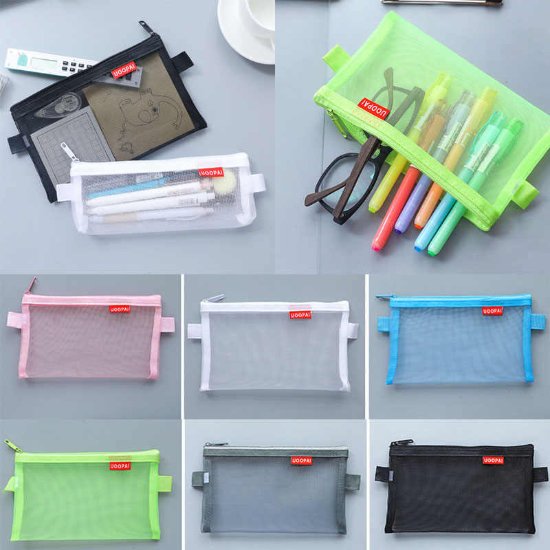Sale Newest 1PC Simple Transparent Mesh Cosmetic Bag Travel Pouch High Quality Transparent pencil case Storage Bags