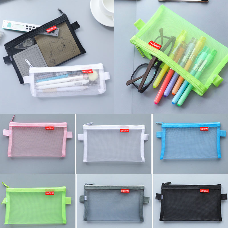 Sale Newest 1PC Simple <font><b>Transparent</b></font> Mesh <font><b>Cosmetic</b></font> <font><b>Bag</b></font> Travel Pouch High Quality <font><b>Transparent</b></font> pencil case Storage <font><b>Bags</b></font> image