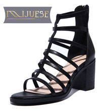 MLJUESE 2018 women sandals Genuine Leather Summer slip on Gladiator Black color zippers high heels women size 34-40