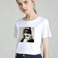 Fashion Women T-Shirt Big Plus Size Tshirt Femme Print Picture Girl T Shirt Top White Female Tops Short Tee Shirt Funny Girl недорого