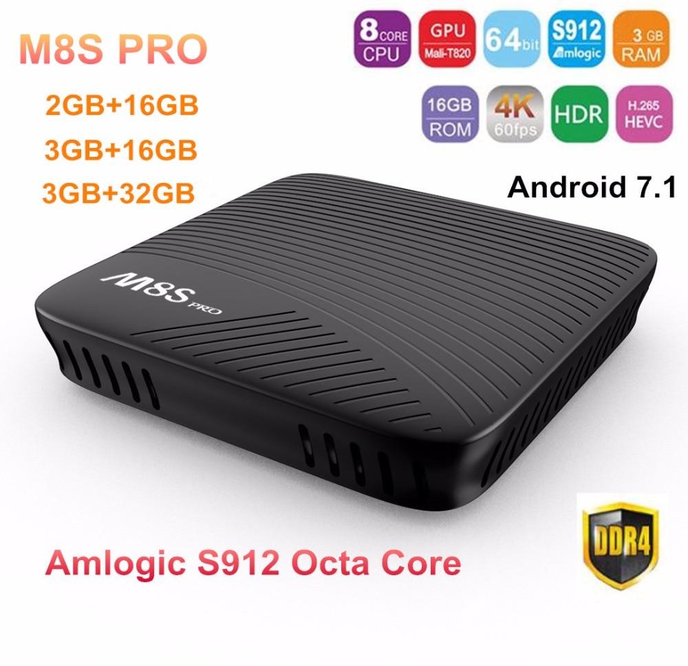 M8S PRO Android 7.1 Smart TV Box Amlogic S912 Octa Core 2GB/3GB DDR4 16GB/32GB 4K H.265 2.4G/5.8G Wifi BT4.1 Media Player