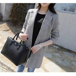 Модный костюм, пиджак в клетку, женский длинный секционный весенний и осенний Новый Повседневный с длинными рукавами шикарный маленький
