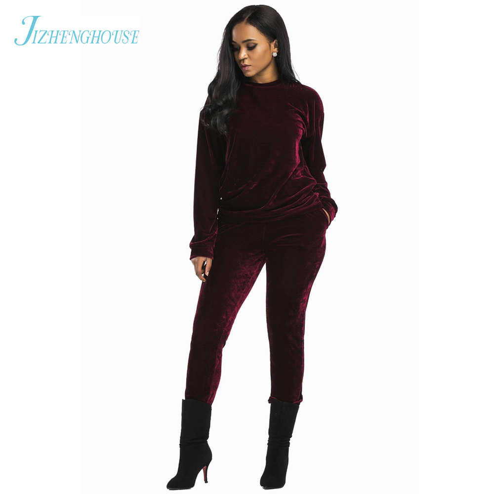 JIZHENGHOUSE Velvet Tops And Pants Set Womens Stretchy Round Neck Long Sleeve Casual Two Sets