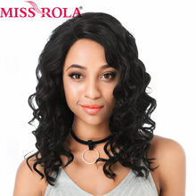 Miss Rola Lace Front Wig Synthetic Wigs Loose Deep Wave Hair Extensions Lace Front Wig for Women 14 Inches Color 1B Pink Mixed(China)