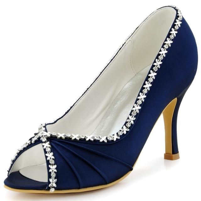 Women Shoes EP2094 Blue Navy Teal Evening Bride Bridal Party Pumps High  Heel 3   Satin Peep Toe Rhinestones Strass Wedding Shoes