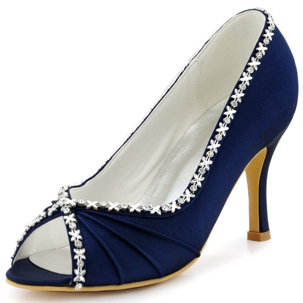 Women Shoes EP2094 Blue Navy Teal Evening Bride Bridal Party Pumps High Heel 3'' Satin Peep Toe Rhinestones Strass Wedding Shoes