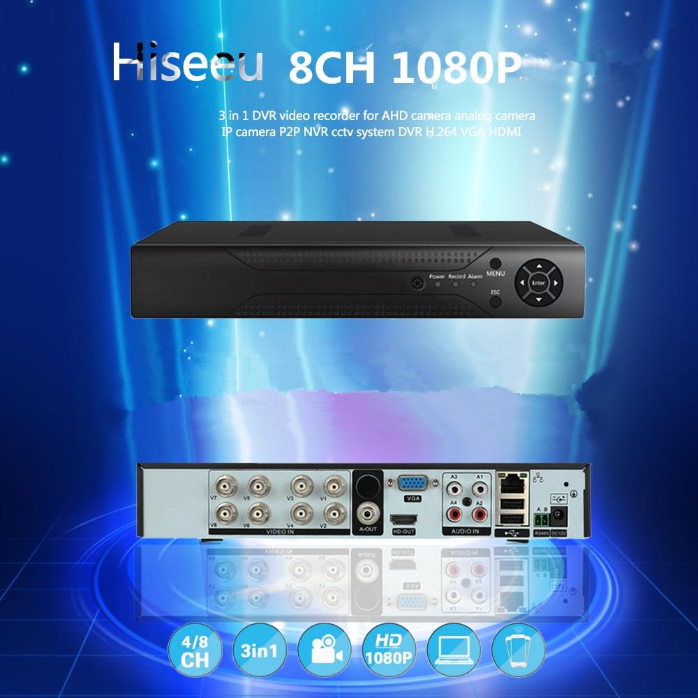 8CH 1080P 5 in 1 DVR Digital Video Recorder For AHD Camera Analog IP Camera P2P NVR CCTV System H.264 VGA HDMI Hiseeu 39 new 4 ch channel h 264 home network 5 in 1 mini cctv 1080p hdmi ahd tvi cvi dvr onvif nvr p2p security video recorder systems