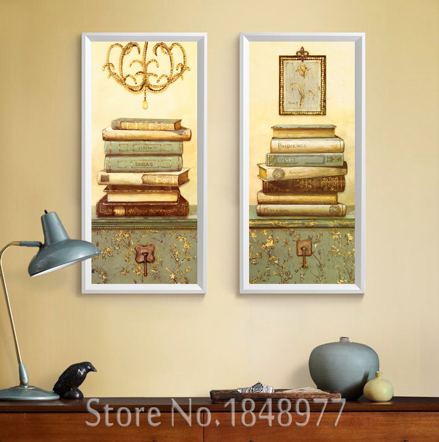 2 Pieces Retro Abstract Paintings Still life Books Canvas Paintings ...