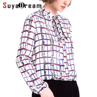 SILK Women T SHIRT Plaid Printed Long Sleeve T Shirt 100 Natural Silk Casual Top Blusas