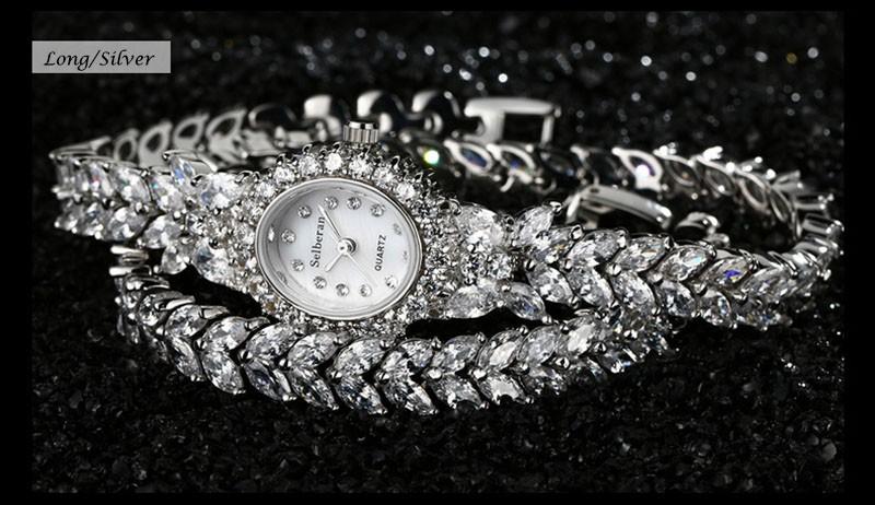 16 50M Waterproof Selberan Gold/Silver Natural Zircon Wrist Watch for Women Luxury Ladies Bracelet Watch Montre Femme Strass 17