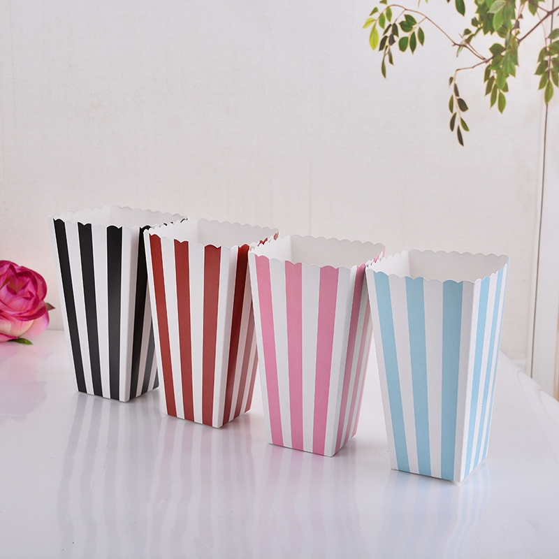 12pcs/lot New Striped Paper Popcorn Boxes Candy Snack Christmas Gift Box For Baby Shower Wedding Party Decoration Color Random