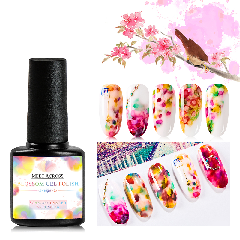 MEET ACROSS Blooming Nail Gel Set  White Clear Soak Off Art Varnish Manicure Flower Hybird Lacquer DIY Design