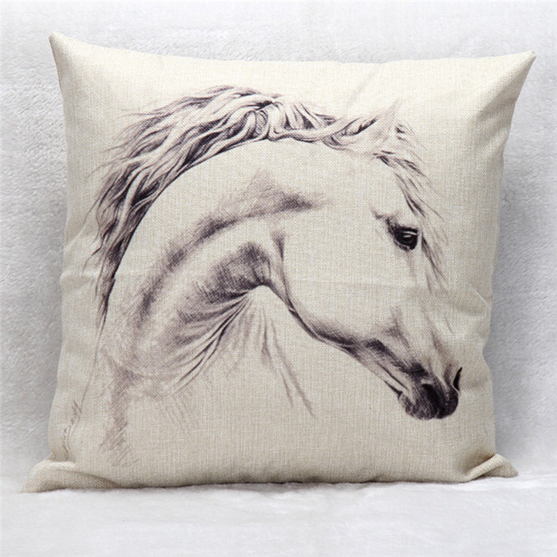Fashion Cool White Horse pillow case cover decal home bedroom cushion case box flax material drop shipping on sale