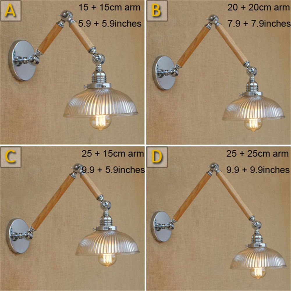 vintage e27 110V 220V Chrome wall lights wood Swing arm+ Clear Glass lampshade wall sconces lighting luces decorativas lampen vintage e27 110V 220V Chrome wall lights wood Swing arm+ Clear Glass lampshade wall sconces lighting luces decorativas lampen