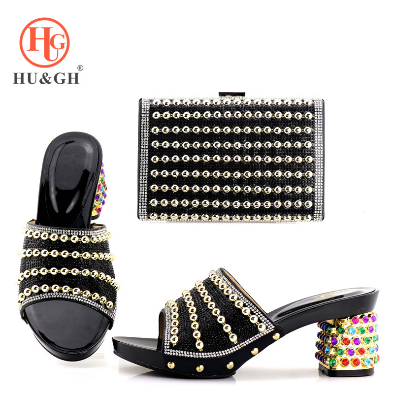 2018 New Black Color Italian Shoes with Matching Bags Italian Design African Nigeria Shoes and Bag Set for Parties for Women