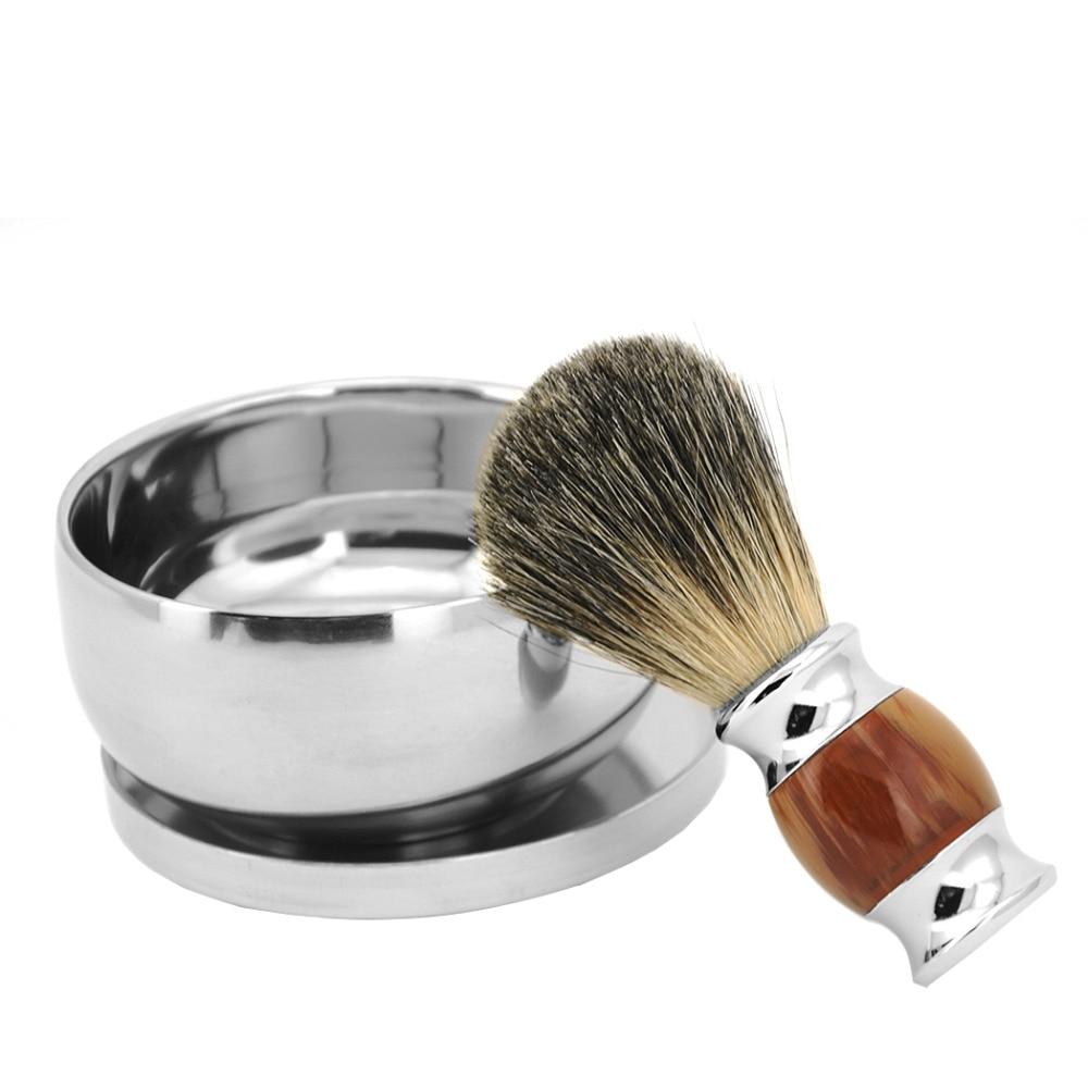ZY Barber 100% Pure Badger Hair Wet Shaving Beard Brush + Shaving Soap Mug Bowl Cup Men Shave Razor Kit 2