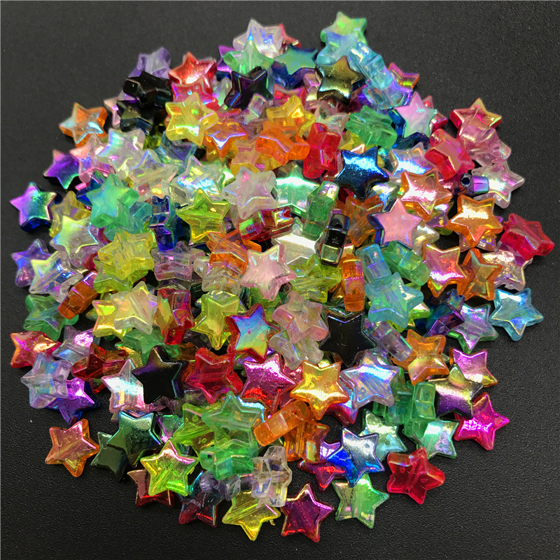 100pcs 11x4mm Acrylic Spacer Beads Five-pointed Star Transparent Rainbow Color