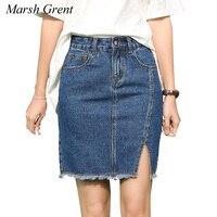 Denim Skirt 2017 Summer Women Slim Mini Denim Skirt Simple Sexy Side Split Slim Jeans Women
