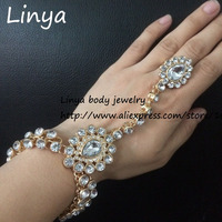 SL 226 Full Crystal Handmade Stones Hand Chain Hand Jewellery Slave Bracelet Wedding Party Bridal Prom