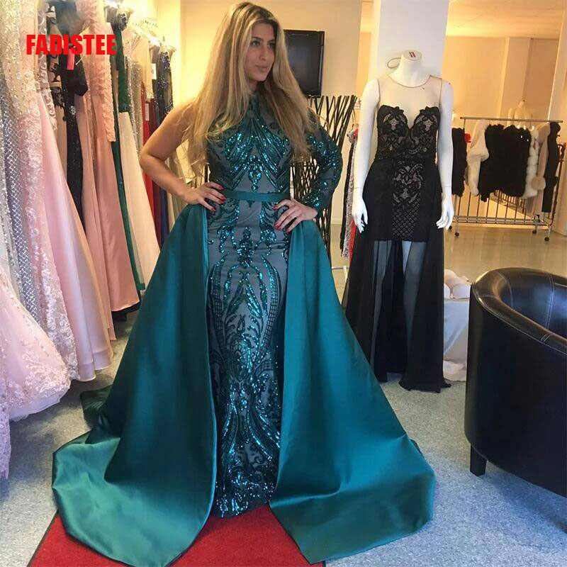 FADISTEE New Arrival Party Evening Dresses Vestido De Festa Trumpet Prom Lace Robe De Soiree One Shoulder Full Sleeves Green