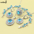 XUTAAYI Blue Created Topaz AAA Quality Sterling Silver Jewelry Sets For women Alluring Weeding Necklace/Rings/Earrings/Bracelet