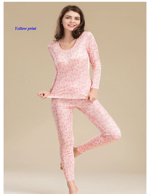 New arrival pure silk knitted lady round neckline print long johns,100% silk double-faced knitted thermal underwear set