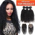 Grade 10A Brazilian Virgin Hair With Closure Kinky Curly Hair 3 bundles With Closure Brazilian Virgin Human Hair With Closure
