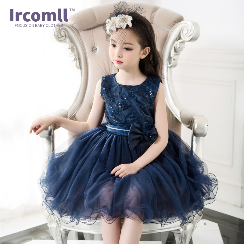 ФОТО High Quality New Royal Blue Girl Party Dress Fashion Lace Flower Wedding 2017 Dresses Ball Gown Carnival Costume Kids Clothes