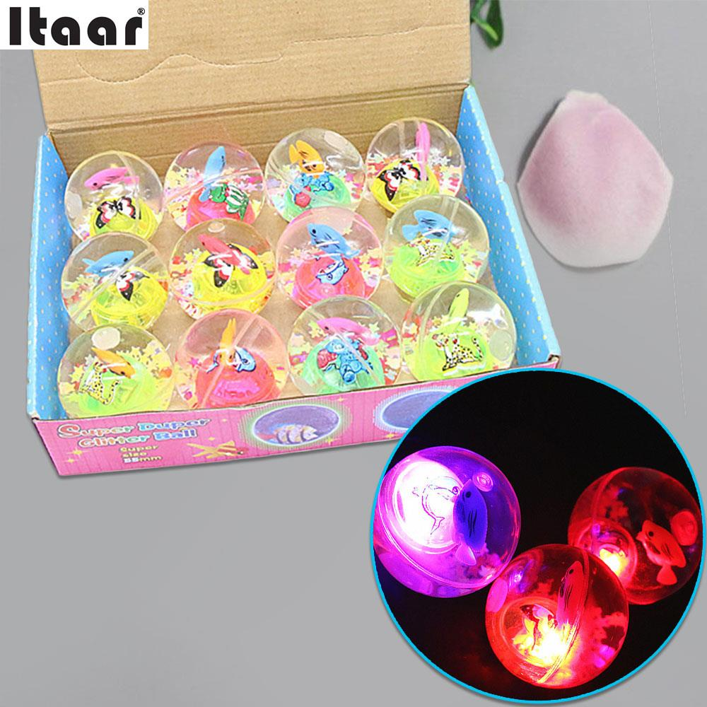 5 5cm Bouncy Elastic Rubber Ball Colorful LED Light Up Flash Cartoon Kids Toys