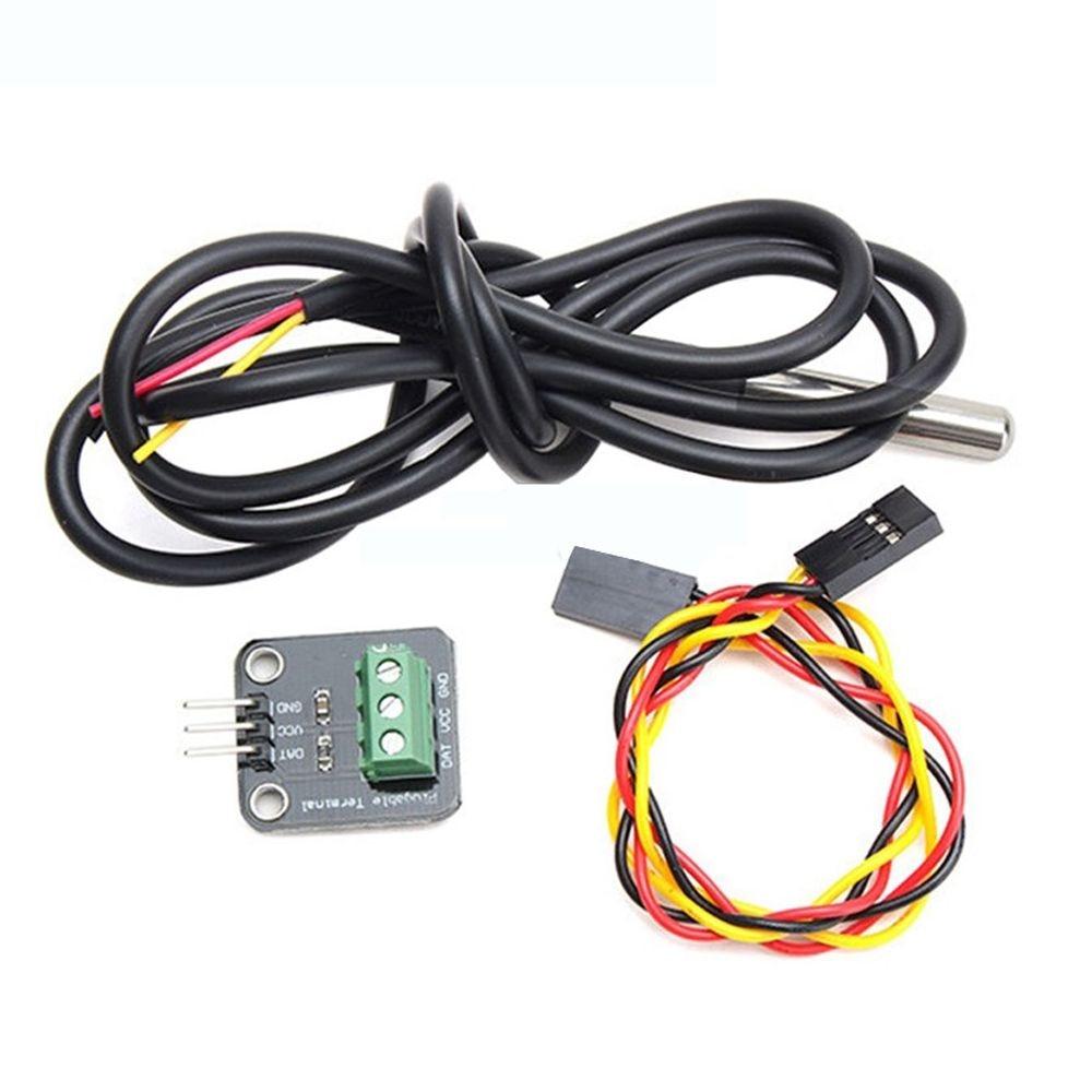 MOOL  DS18B20  Temperature  Sensor Module  Kit  Waterproof 100CM  Digital  Sensor Cable Stainless Steel  Probe Terminal Adapter