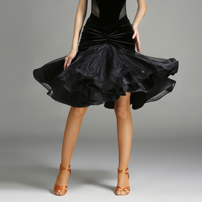 Latin Dance Skirt Cha Cha Ballroom Costume Women Lady Adult Gather Tight Dancewear Evening Party Dress Skirt