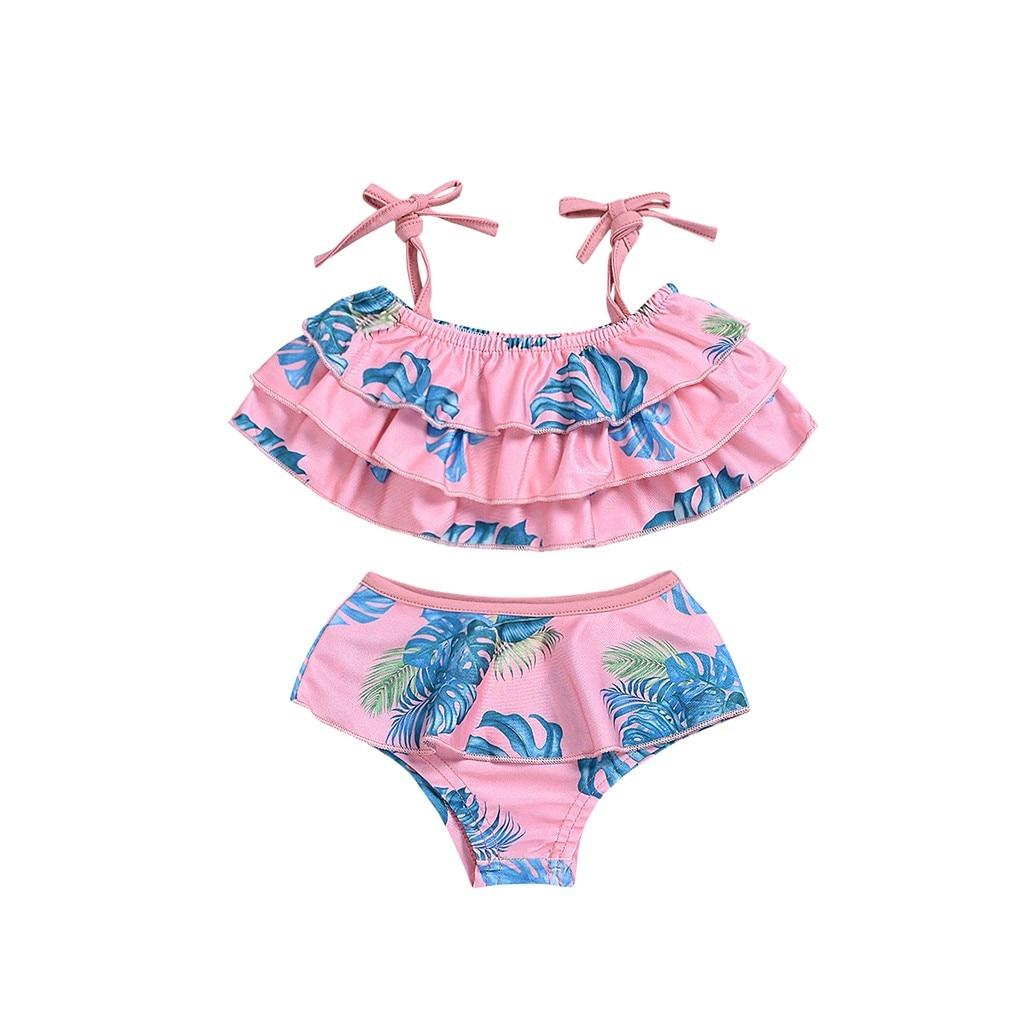 Telotuny дети купальники для малышек дети обувь Девочек Пляжные подвесной купальник+ шорты комплект летний ванный#40 - Цвет: 3-4 Years