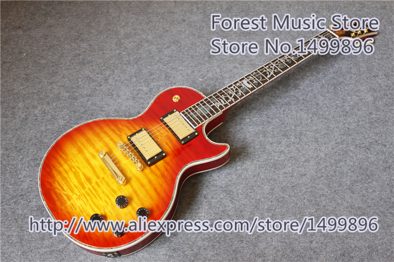 China OEM Cherry Sunburst CS Electric LP Custom Shop Electric Guitars In Stock china s oem firehawk custom shop electric guitar lp color shell inlays color binding double water ripple