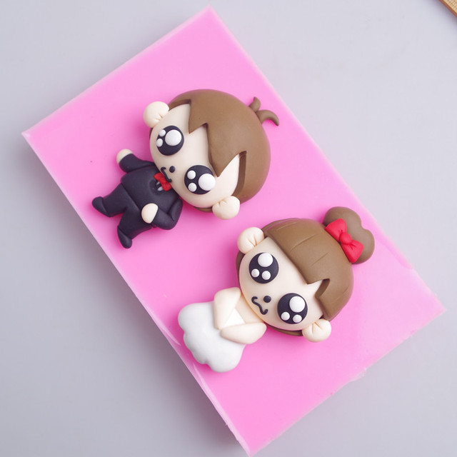 Q 710 Free Shipping Cute Couple Doll Cake Decoration Silicone Mold