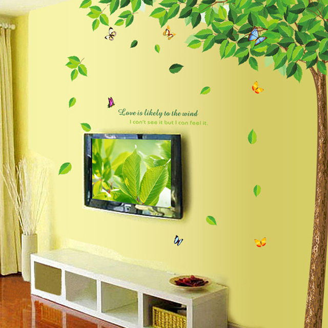 Green Tree and Butterflies Wall Sticker