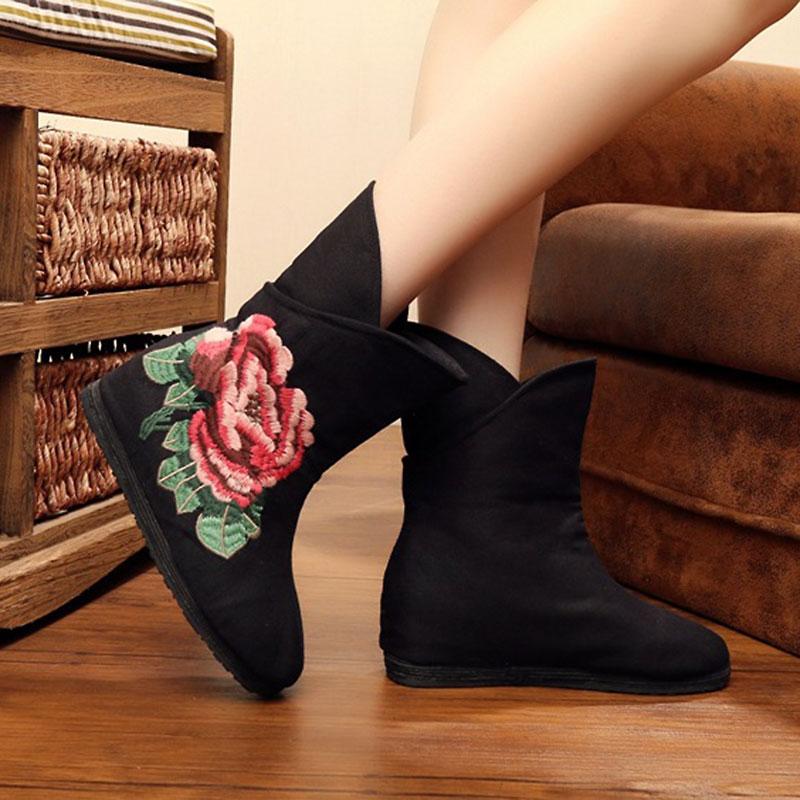 Embrodiery Flor Autumn Botas Bordado Casual Chinas Black Zapatos Cuñas Botines Winter black Suave Veowalk Mujeres Beijing Algodón TxqntpExaX