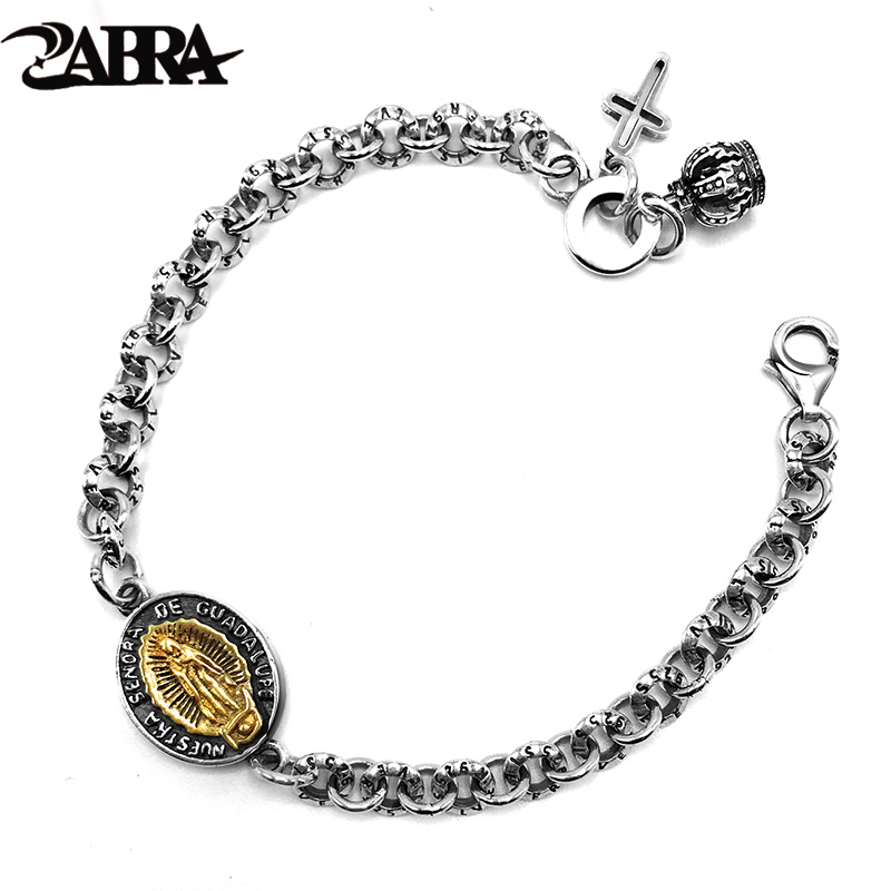 ZABRA Véritable 925 En Argent Sterling Vintage Bracelets Pour Femmes Christian Vierge Marie Bijoux Rétro Bracelet Hommes Personnaliser Longueur