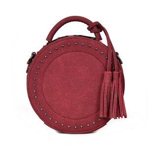 Image 1 - Vintage Scrub Lederen Crossbody Schoudertas Voor Vrouwen Ronde Mode Kwastje Messenger Bag Vrouwelijke Casual Tassen Hot Koop Sac