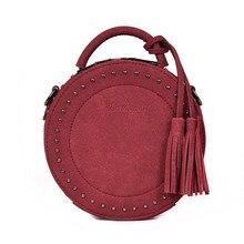 Vintage fırçalama deri Crossbody omuzdan askili çanta kadınlar için yuvarlak moda püskül postacı çantası kadın Casual Tote çanta sıcak satış Sac