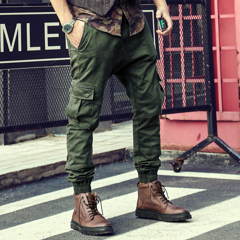 Bright Spring New Elastic Men Trousers Green Overalls Trousers Men Screw Feet Pants Casual Trousers Muti Pocket Mens Cargo Pants K1025 Rich In Poetic And Pictorial Splendor
