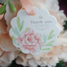 multi-use 50pcs thank you light pink flower design Scrapbooking decoration tags as wedding gift label DIY use
